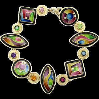 Estate Magick Fine Cloisonne Enamel, Diamond, Tourmaline, Tsavorite Garnet, Amethyst, Citrine, Rhodolite Garnet, Topaz, & Peridot Bracelet