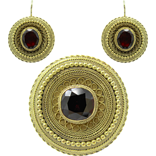 Garnet Archaeological Revival Victorian Gold Cannetille Demi Parure Earrings & Brooch Suite