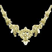 Antique Seed Pearl Fleur-De-Lis Garland Necklace | Bridal Jewelry | Victorian | Edwardian | Art Nouveau