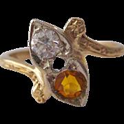 Citrine & Old European Cut Diamond Toi et Moi Heart Bypass 14K Engraved Vintage Engagement Ring / Promise Ring