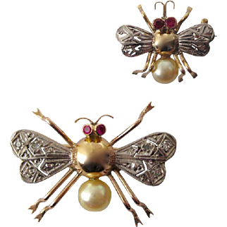 Antique Ruby, Pearl & Diamond 14K Gold Honey Bee Scatter Pin Brooch Set