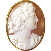 Large Antique Italian Neo-Classical Carved Carnelian Conch Shell Cameo 14K Gold Victorian Statement Brooch Pin | Customize to a Pendant Necklace