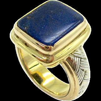 Vintage Lapis Lazuli, Platinum, & 18K Gold Gent's Pinky Ring   Unisex Statement Ring
