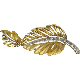 Vintage 18K Two Tone Gold Diamond Feather Brooch Pin / Leaf Brooch
