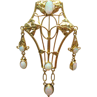 Rare Handmade Arts & Crafts Movement Crystal Opal Dangle Brooch Pin In 18K Gold Setting - Art Nouveau - Convert Into A Necklace Pendant
