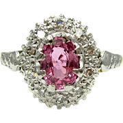Vintage Pink Sapphire & Diamond Cluster 18 Karat Gold Ring | Alternative Engagement Ring