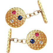 French Antique Cufflinks Set 18K Gold, Sapphire, Diamond, & Ruby | Gent's Jewelry | Men's Cuff Links