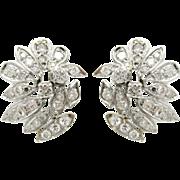 Vintage 2ctw Diamond & 14K White Gold Statement Earrings | Bridal Earrings | Wedding Jewelry | Special Occasion Earrings | Post Earrings