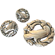 Vintage Georg Jensen Sterling Silver Dove & Wreath Brooch and Screwback Earring Suite - Customize for Pierced Ears