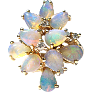 Crystal Opal & Diamond Abstract Vintage Cocktail Statement 14K Gold Ring