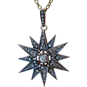 Antique Victorian 2.50ctw Rose Cut & Old European Cut Diamond Star 14K Gold and Silver Pendant Necklace