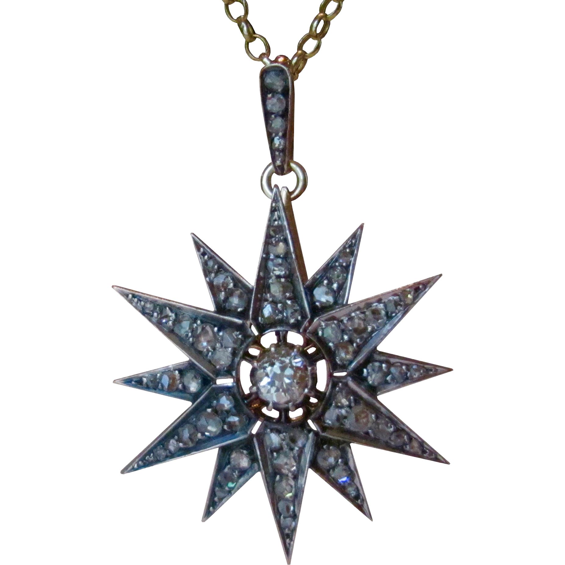 Antique victorian 250ctw rose cut old european cut diamond star antique victorian 250ctw rose cut old european cut diamond star 14k gold and silver pendant necklace aloadofball Images