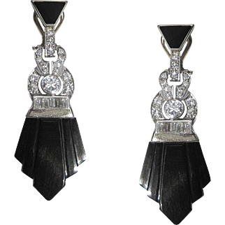 Art Deco Old European Cut Diamond & Carved Onyx Geometric Fan Shaped 14K White Gold Vintage 1920's Flapper Earrings