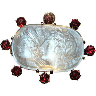 Phenomenal One of a Kind Apollo and Daphne Carved Moonstone & Red Spinel Neo-Classical Pendant / Brooch
