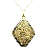Antique Cobalt Blue Enamel Hand Engraved 15K Gold Victorian Locket Pendant