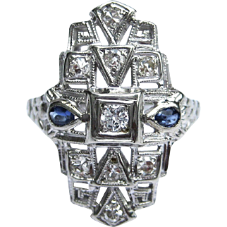 Art Deco Diamond, Sapphire, 18K White Gold Statement Ring With Geometric Shapes And Flowers - Alternative Engagement Ring - Ring O Romance