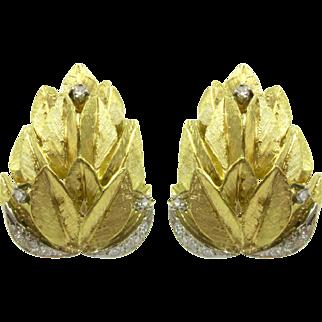 Vintage Diamond Feather Statement Earrings 14K Yellow & White Gold   Omega Back Earrings