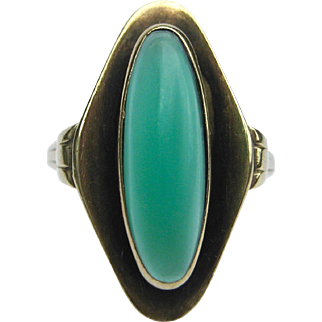 Green Onyx / Chalcedony Jugendstil Oxidized 8K Gold Navette Ring | German Modernist | Art Nouveau | Arts & Crafts Statement Ring