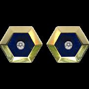 Vintage Diamond & Lapis Lazuli 18K Gold Hexagonal Earring Studs - Cufflink Conversion Jewelry