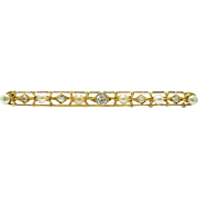 Art Deco / Edwardian Old European Cut Diamond & Pearl 14K Gold Lace Filigree Bar Pin Brooch | Convert To A Bar Necklace