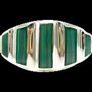 Vintage Malachite & Sterling Silver Taxco Mexican Bangle Bracelet