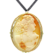 Antique Neo-Classical Carved Conch Shell Cameo Beauty With Roses & Seed Pearls 10K Gold Edwardian Statement Brooch Pin Pendant