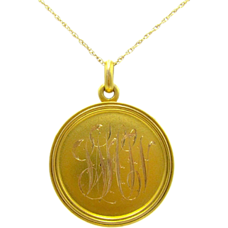 Riker Bros. Art Nouveau 14K Gold Antique Hand Engraved Monogrammed Locket Pendant | Riker Brothers | Photo, Hair, Momento, Keepsake Locket