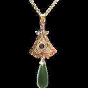 Antique Nephrite Jade & Amethyst 14K Yellow Gold Art Nouveau / Edwardian Lavalier Pendant Necklace - Suffragette Jewelry