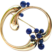 Lapis Lazuli Abstract 14K Gold Circle Brooch Pin - Vintage West Germany - Statement Jewelry Brooch