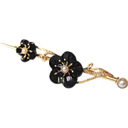 Victorian Plum Blossom Carved Onyx & Pearl 14K Gold Bar Pin Brooch | Antique Cherry Blossom Brooch | Mourning Jewelry