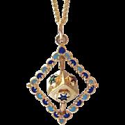 Vintage Spinning Dreidel 14K Gold, Enamel, & Glass Pendant Movable Charm