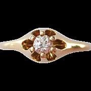 Antique Old European Cut Diamond Belcher / Buttercup Setting 14K Gold Victorian / Edwardian Engagement Ring | Bridal Jewelry
