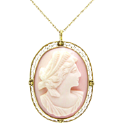 Goddess Hera Carved Pink Conch Shell Cameo Pendant / Brooch | Vintage 10K Gold Filigree