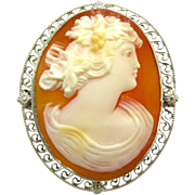 Bacchante Carved Carnelian Shell Cameo Brooch | Vintage 14K White Gold Filigree