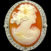 Bacchante Carved Carnelian Shell Cameo Brooch | Vintage 14K White Gold Filigree