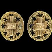 Victorian Taille d'Epargné Black Enamel 10K Gold Oval Screw-Back Earrings | Mourning Jewelry