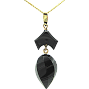 Victorian Faceted Carved Onyx 14K Gold Mourning Jewelry Antique Geometric Drop Pendant Necklace