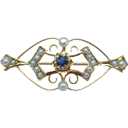 Antique Seed Pearl & Sapphire Lingerie Pin Brooch 10K Gold Edwardian Era - Convert Into A Pendant Necklace