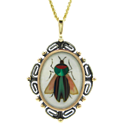 Antique Italian Pietra Dura Inlaid Hardstone Insect / Bug Pendant With Gold & Silver Greek Key Victorian Frame | Neoclassical | Mourning Jewelry