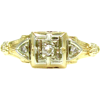 Vintage Old Mine Cut Diamond Two Tone Gold Engagement Ring