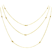 Extra Long Antique Gold Ellipse Bead Layering Station Necklace Chain