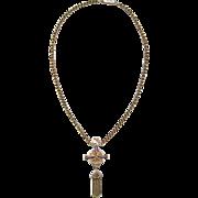 Antique Taille d'Epargné Black Enamel Victorian Tassel Necklace with Cross Motif in 14K Gold - Taille d'Epargne