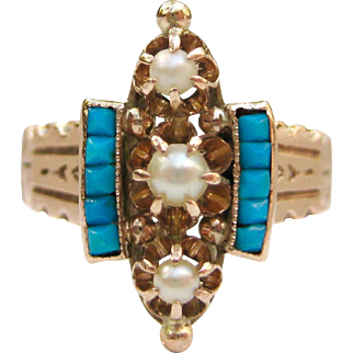 Shafer & Douglas Turquoise, Pearl, 14K Rose Gold Victorian Aesthetic Period Engagement Ring