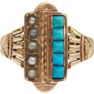 Turquoise, Pearl, 14K Engraved Rose Gold Victorian Aesthetic Period Engagement Ring