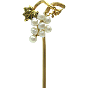 Antique Seed Pearl Grape Cluster 14K Gold Stick Pin Brooch Edwardian / Art Nouveau Era | Unisex Jewelry | Tie Pin | Lapel Pin