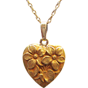 Antique Heart Pendant With Repoussé Flowers | 14 Karat Bloom Gold | Art Nouveau / Edwardian Era | Heart Charm