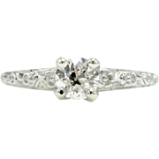 "Vintage .40 Carat Solitaire Diamond 18K Glaser Bros. ""Forget Me Not"" Floral Engagement Ring 