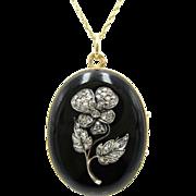 Antique Rose Cut Diamond & Onyx Pansy Flower Locket 14K Gold / Rose Gold / Sterling Silver | Mourning Locket | Keepsake Locket | The Language of Flowers | Symbolic Jewelry
