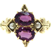 Antique Amethyst & Seed Pearl Victorian Toi et Moi 14K Gold Ring