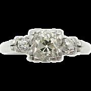 Vintage Old Mine Cut Diamond Three Stone Platinum Engagement Ring | Bridal Jewelry | Promise Ring